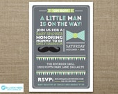 Little Man Baby Shower Invitation - Mustache Baby Shower Invitation - Bowtie Invitation - Boy Baby Shower - Sprinkle Invitation - Printable