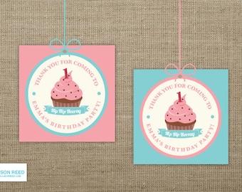 Cupcake Favor Tags - Firtst Birthday Printable - Pink Birthday Printable - Girl Birthday Printable - 1st Birthday Party - Birthday Gift Tags