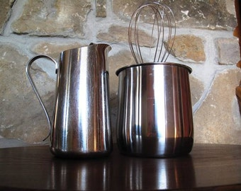 18/8 Stainles Steel Kitchen Duo, Oneida Pitcher, Ekco Utensil Holder, Classic Kitchen Storage, Serving,