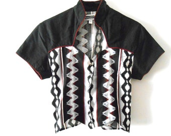 Native Print/ Southwest Shirt/ Ethnic Print/ Western Top/ Aztec Print/ Corset/ Cowgirl/ Western Wear/ 90s Button Up/ Southwestern Blouse