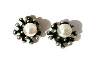 Oxidized Silver Pearl Studs, Small Silver Studs Pearl,  Small Pearl Studs, Starburst Earrings, Artisan Handmade by Sheri Beryl