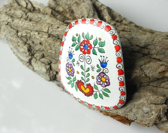 Austrian Folk Art Enamel Brooch, Hand Painted Flowers, Vintage Brooch signed Austria