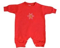 Snowflake Romper, Gingerbread Man Romper, Red Romper, Fleece Romper, Red Jumpsuit, Girls Romper, Boys Jumpsuit, Christmas Jumpsuit,