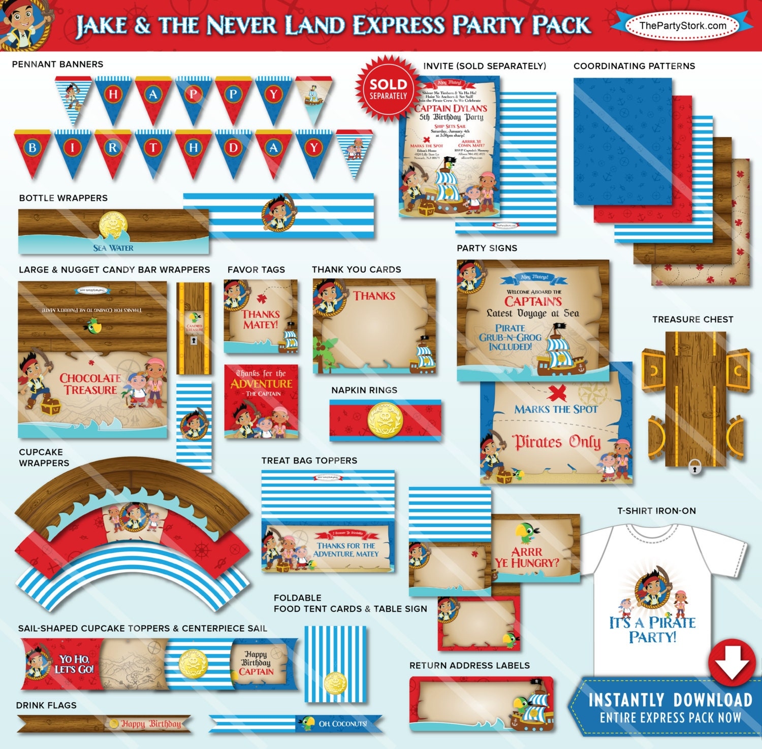 Jake and the Neverland Pirate Birthday Party Decorations Jake