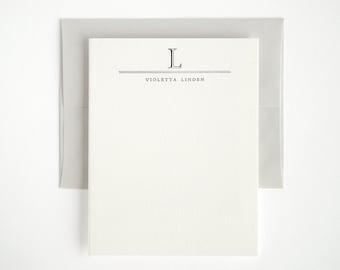 Letterpress Stationery Set - Custom Flat Note Cards - Classic Academy Style