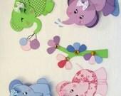 Adorable Baby Elephants Premade Paper Piecings Album Layout Border