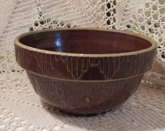 Antique Brown Glaze Stoneware Serving Bowl