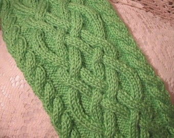 Handmade Knit Lime Green Celtic Knot/Cable Knit Scarf with Matching Hat