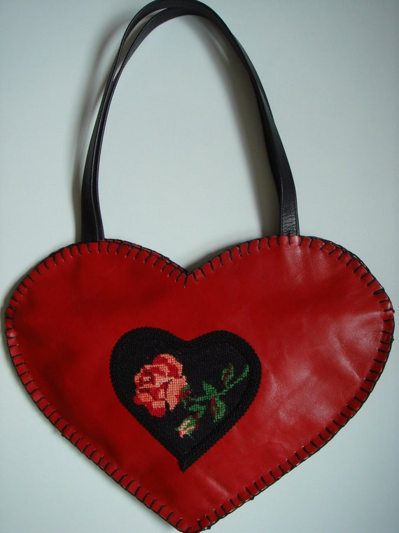 Heart shape red leather bag with hand embroidered rose