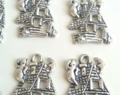 CLEARANCE 24 Tibetan Silver Haunted House Charms Ghost Halloween Favor