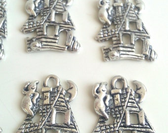 CLEARANCE 12  Tibetan Silver Haunted House Charms Ghost Halloween Favor