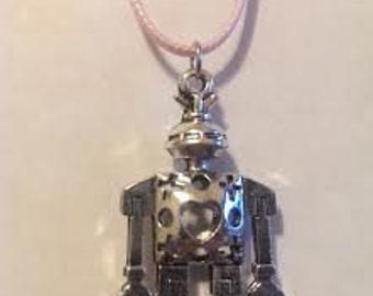 "Tibetan Silver Heart Robot Necklace Pendant 20"" Pink Satin Cord  Sweetheart Love"