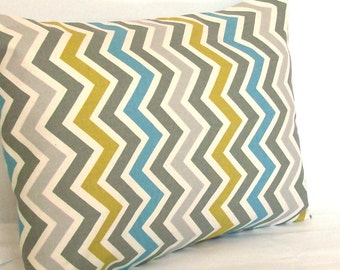 SALE Chevron Lumbar Throw Pillow Cover - Travel Neck Cushion Cover 12x16 inch - Blue Citrine-Yellow Grey Zig Zag