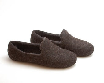 Felted wool slipper loafers dark brown - eco slippers - handmade felt organic wool house shoes