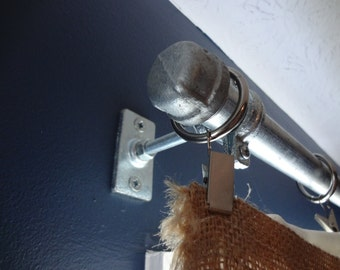 Industrial Curtain Rod Holders - Pair