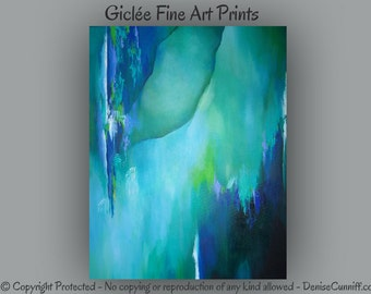 Teal abstract art, Green and blue artwork, Wall art, Giclee fine art print, Teal home decor, Turquoise black green, Master bedroom decor