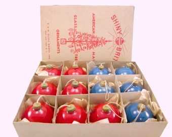 War Era Unsilvered Paper Cap Shiny Brite Christmas Holiday Ornaments Boxed Set of 12 Red And Blue