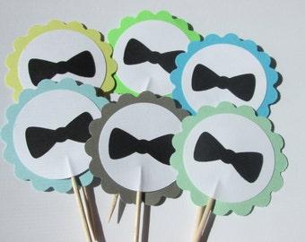 12 Bowtie cupcake toppers, Bowtie appetizer picks, choose your color