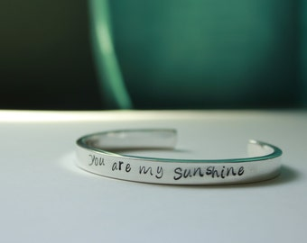 Custom Personalized Hand Stamped Sterling Silver Cuff Bracelet Quote, Crossfit