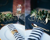 Custom Wire Names - Gold, Rose Gold, White, or Black - Table Wire Name Card