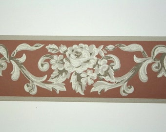 Full Vintage Wallpaper Border - TRIMZ -  Mauve and Ivory Victorian Rose