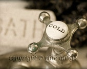 PAIR (2):  Bathroom Faucet Hot and Cold Water Handles on the Sink in an Antique Vintage Decor, 2 4x6 Or 5x7 Photograph Print (P6G)