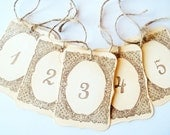 10 Table Numbers, Table Number Cards, Wedding Table Number Tags ,Shabby,Rustic- Brown