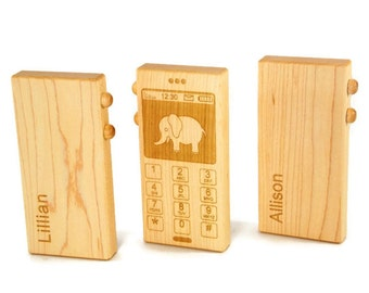 Personalized Organic Wooden Toy Phone - Pretend Phone for Little Ones to Have Fun With