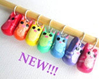 Rainbow Kitties Stitch Markers-- handmade polymer set of 7 fit up to US size 10
