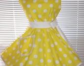 Retro Apron Yellow White Polka Dots Circular Flirty Skirt