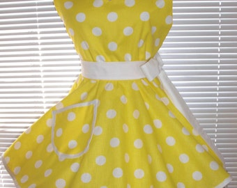 Sweetheart Retro Apron Yellow White Polka Dots Circular Flirty Skirt