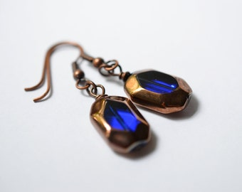 Dark Blue Earrings, Cobalt Inky Copper Czech Glass Earrings - Dangle Wire Wrapped Glass Drops Earrings