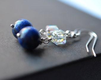 Lapis Lazuli Swarovski Crystal Sterling Silver Earrings, Dangle