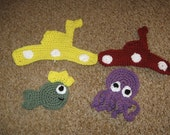 Fish king and octopus appliques pattern pdf file
