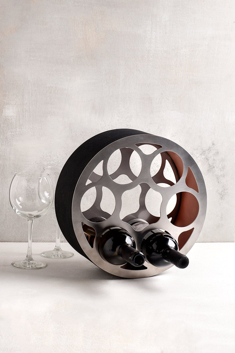 Modern Wine Rack Wheel Stainless Steel Wine Bottle Holder