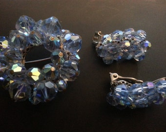 Vintage Demi Parure Crystal Brooch and Earring Set