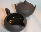 Vintage Wedgewood basalt black sugar and creamer. Used but in near perfect condition.