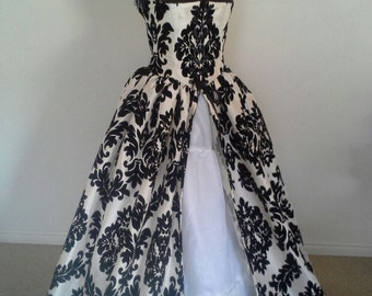 BLACK on WHITE Renaissance Wedding Fantasy Gown Dress Faire