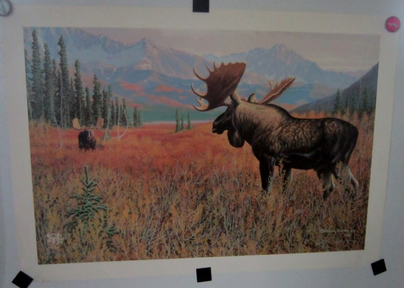 Wildlife Art Moose Print by Patrick Sawyer Moose Conservation Print Numbered Signed Art Ready to Frame Signed Dated Numbered 376 of 490