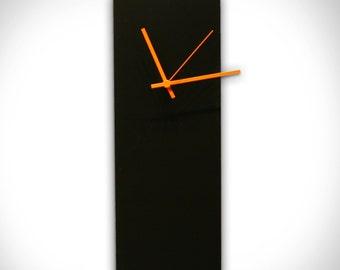 Black Clock 'Blackout Orange Clock' - 6x16in.-Unique Wall Clocks-Made in USA, Retro Wall Clock
