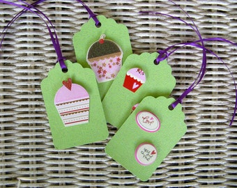 Four Handcrafted Tags- Glitter Green Card Stock- With 3D Cupcake and Love Cutouts  and Purple Ribbon Ties - Blank on the Back
