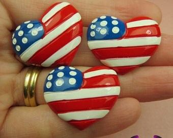 USA American Flag Heart Flatback Decoden Resin Cabochons (4 pieces)