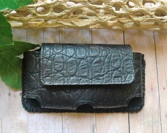 Black alligator print genuine leather and suede lined iPhone 5 5c and 5s belt case hand laced with round leather lacing