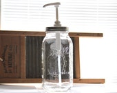 1/2 gallon size mouthwash jar with pump and lid.
