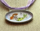 Handdrawn Illustrated Mermaid - Cute Oval Pendant with Ribbon