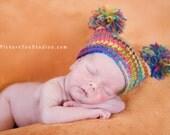 PATTERN:  Rainbow Pom Hat, easy crochet PDF, size newborn infant toddler, pom poms, crochet, InStAnT DoWnLoAd, Permission to Sell