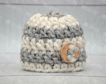 Newborn boy hat, baby boy hat, grey, ecru, newborn boy photo prop, baby boy coming home outfit, baby boy clothes, baby boy beanie