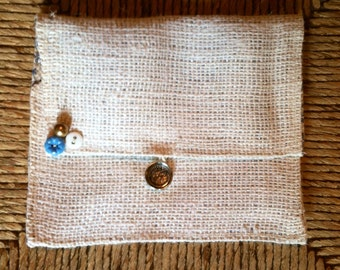 Cream burlap wallet/clutch, tea wallet, burlap purse