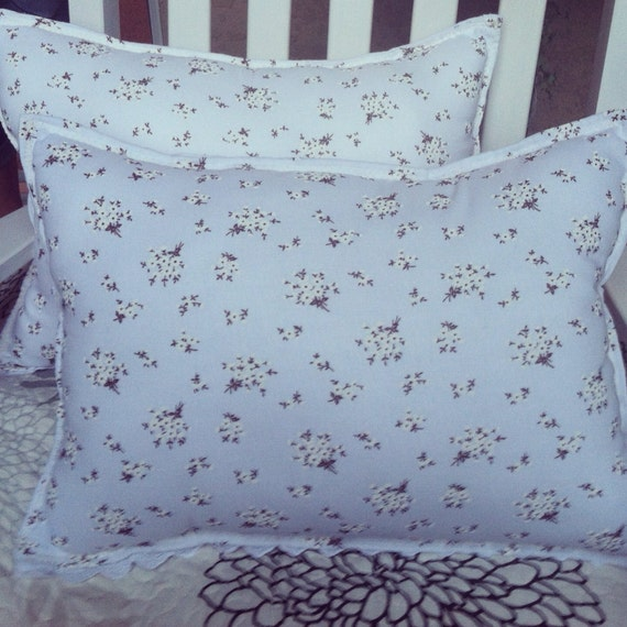 Shabby Chic Pillows White : White fower bouquet eyelet pillows shabby chic by PillowsBeyond
