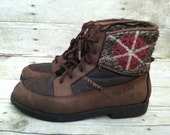 Ladies warm weather Tecnica brown lace up boots size 8